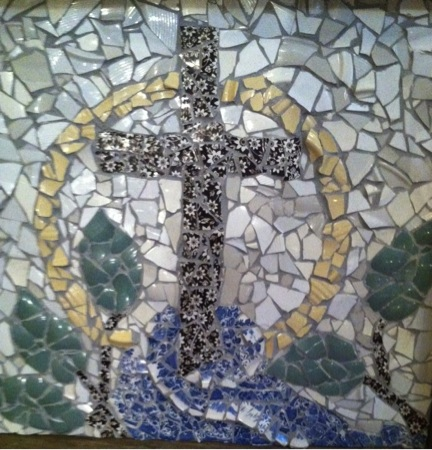 Mosaic of river with a cross
