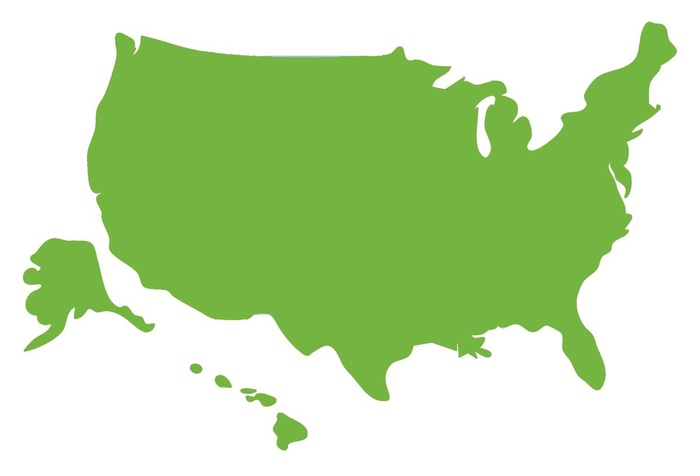 Map of U.S. in green