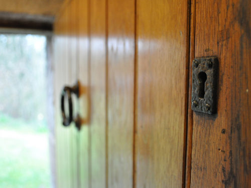 Wooden door with key hole